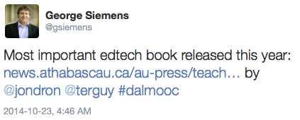 """George Siemens calls it the """"Most important edtech book released this year"""""""